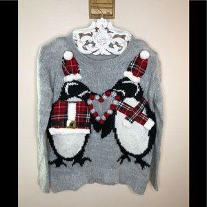 Rewind Gray Penguin Holiday Pom Pom sweater M